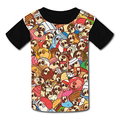 O-Neck Polyester Fiber Classic Short Sleeve Top Tee Shirt For Unisex Kids,Print Cartoon Little Dog Head M ()