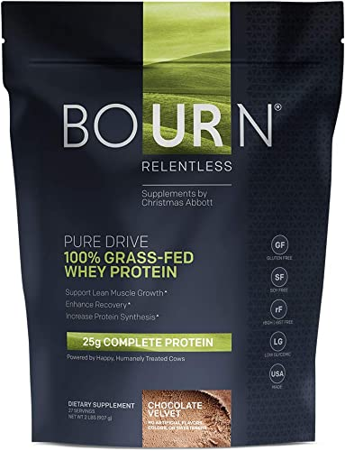 Bourn Relentless PURE DRIVE 100 Grass-Fed Whey Protein Powder Gluten Free, Soy Free, USA Made No Added Hormones rBGH rBST Free No Artificial Color, Flavors, Sweeteners Chocolate Velvet 2 LB