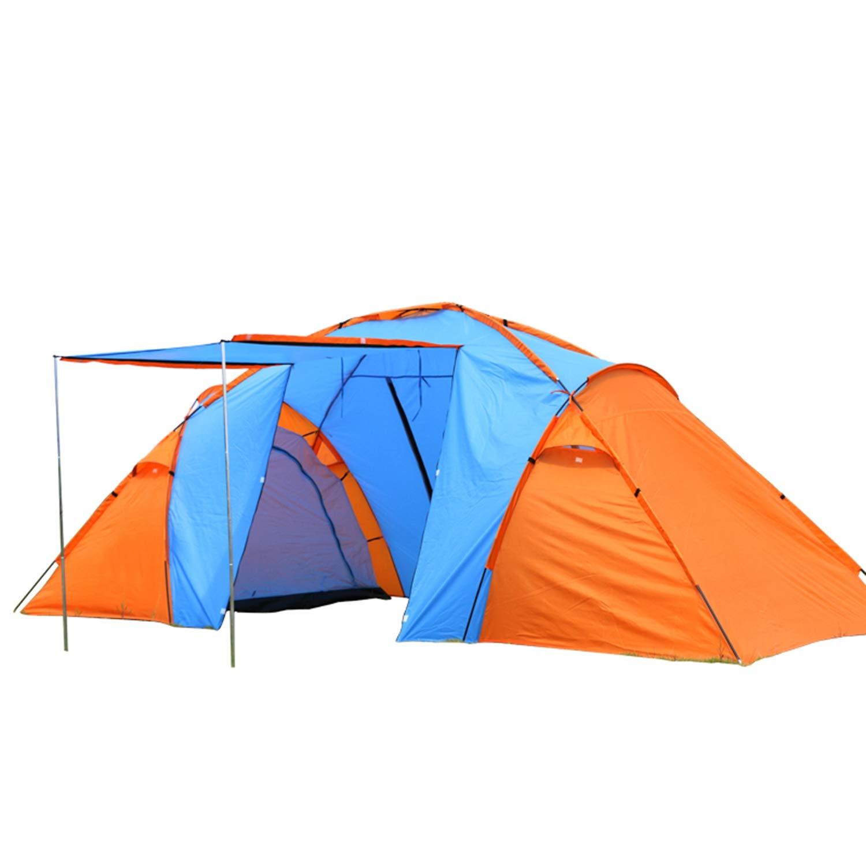 3M Zwei Schlafzimmer Und EIN Wohnzimmer Manuell Camping Zelt 4 Person Wasserdicht Anti-Moskito-Tourismus Camping Zelt,Orange