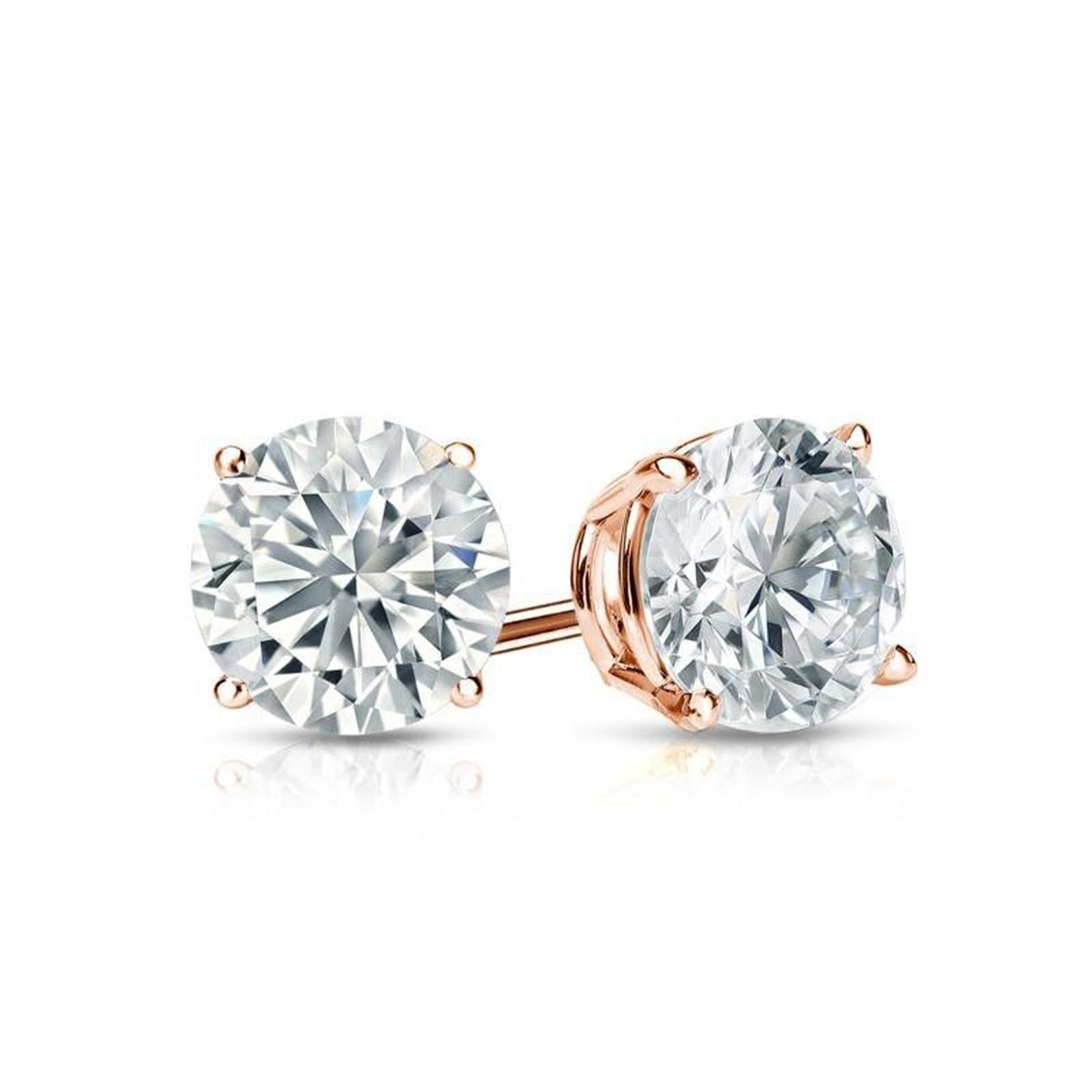 2.0 ct Round Brilliant Cut Simulated Diamond CZ Solitaire Stud Earrings in 14k Rose Gold Screw Back