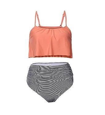48fe4cc3ca140 Woman s Swimwear 2 Piece Tankini Swimsuit High Waisted Swimming Suits  Bathing Suits Bikini Beachwear(Pink