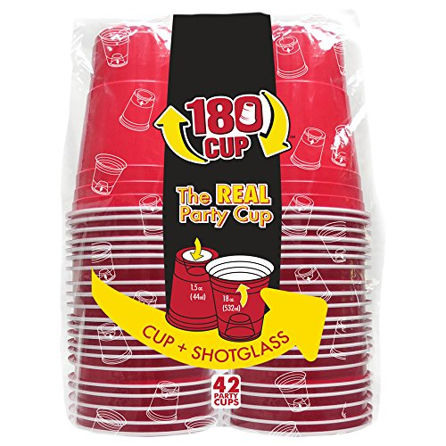 180CUP Disposable Red Party Cup with Built In Shot Glass (Pack of 42)