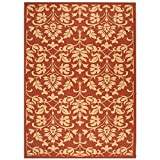Safavieh Courtyard Collection CY3416-3707 Red and Natural Indoor/ Outdoor Area Rug, 8 feet by 11 feet (8' x 11')