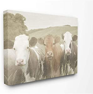 Stupell Industries Happy Neighbors Cows in The Field Canvas Wall Art, 24 x 30, Design by Artist Daphne Polselli