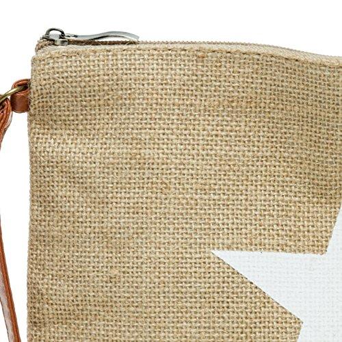 CASPAR TS354 Damen Sommer Jute Clutch Tasche mit Stern Print Weiß