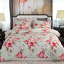 Duvet Cover Queen, Style Bedding 100% Cotton Comfy Floral Flower Printed Reversible Pintuck Comforter Cover and Shams 3 pcs Set with Hidden Zipper and Corner Ties (Queen Size 90 x 90 inch)