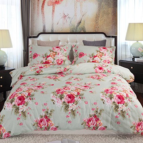 Duvet Cover, Style Bedding 100% Cotton Comfy Floral Flower Printed Reversible Pintuck Comforter Cover and Shams 3 pcs Set with Hidden Zipper and Corner Ties (King Size 90 x 104 inch)