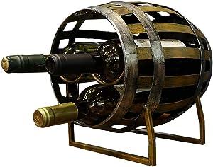 YWYW Creative Iron Wooden Barrel Wine Cabinet Retro Wine bar Decoration (30 × 21 × 34cm)