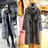 Hot Sale Cardigan Coat,Han Shi Women Scarf-Collar Knitted Sweater Long Sleeve Outwear (Deep Gray, L)