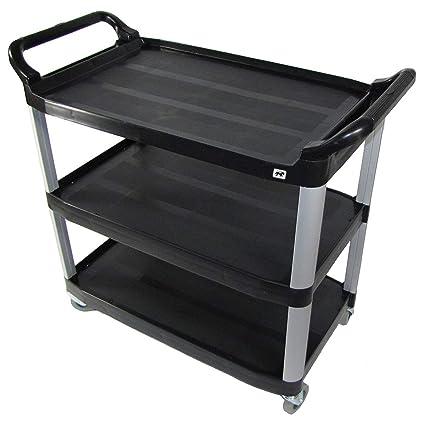 crayata 3 shelf rolling utility cart with heavy duty plastic shelves and oversized wheels black - Rolling Utility Cart