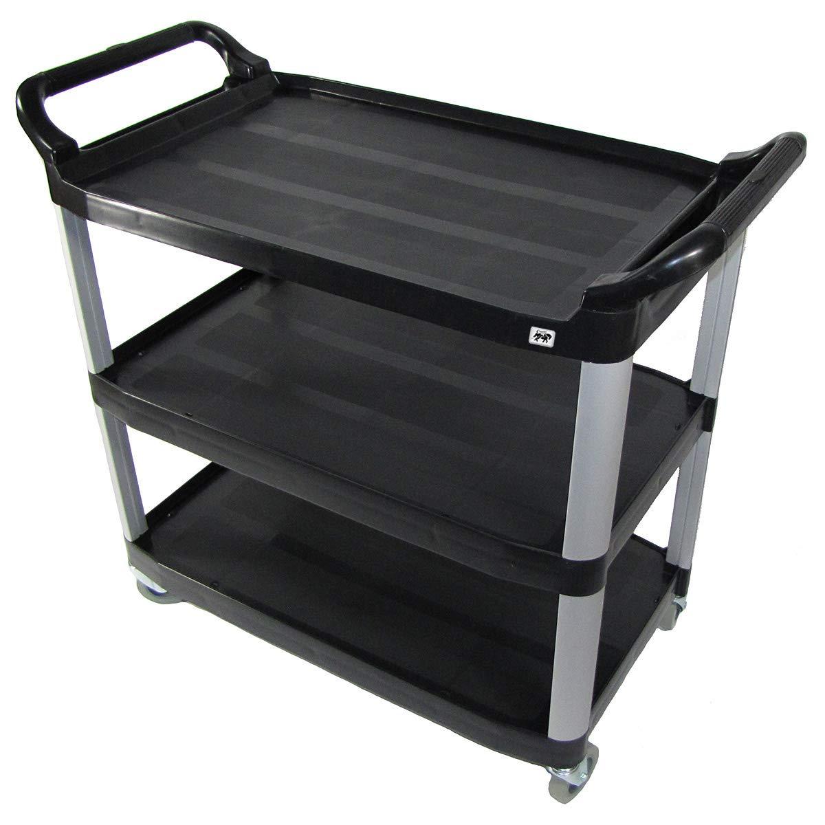 Crayata 3 Shelf Rolling Utility Cart with Heavy Duty Plastic Shelves and Custom Oversized 4 Inch Wheels, 400 Pound Weight Capacity, Black (Large)