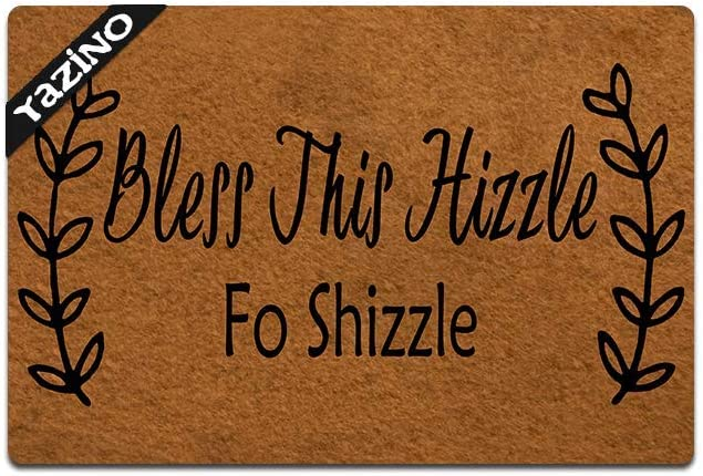 """Funny Front Door Mat Bless This Hizzle Doormat Fo Shizzle Rubber Non Slip Backing Funny Doormat for Outdoor/Indoor Uses, Low-Profile Rug Mats for Entry 23.6""""(W) X 15.7""""(L)"""