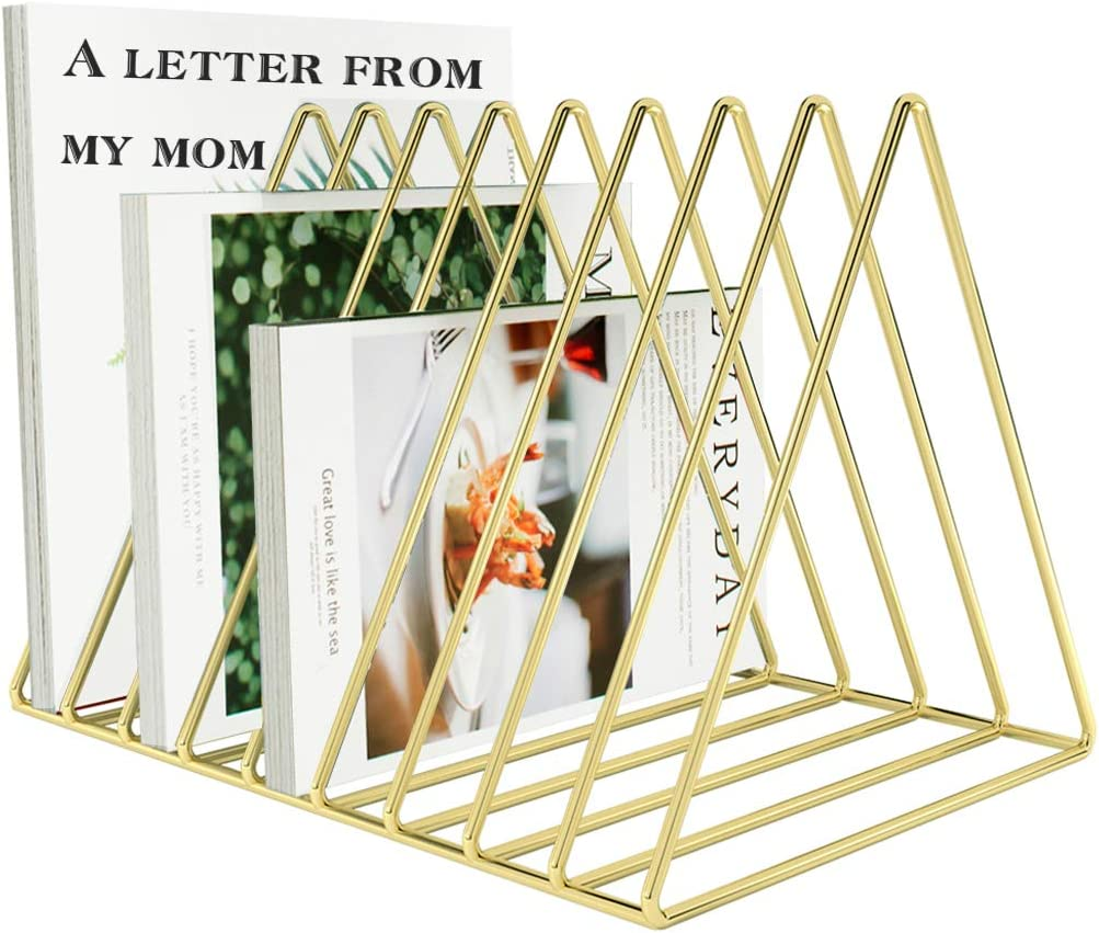 VOSTOR Files Folder Stand Desktop File Organizer, Triangle Wire Magazine Holder Book Shelf, 9 Slot File Sorter Eye-catching Decoration for Indoor Office Home, Photography Props, Fashion in INS(Gold)