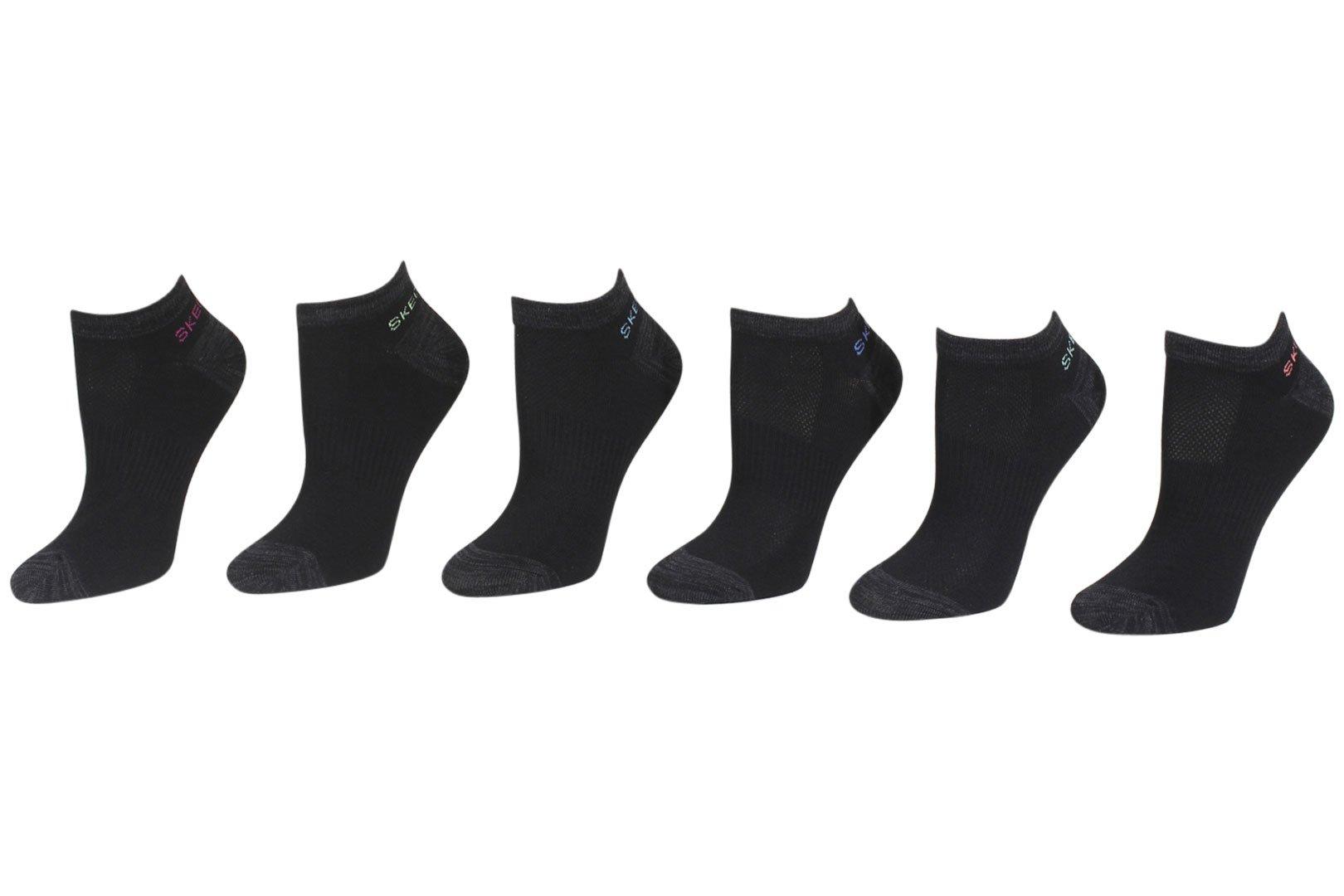 Skechers 6-Pairs Black/Pink Lightweight Low Cut Socks Sz: 9-11 Fits 5-9.5