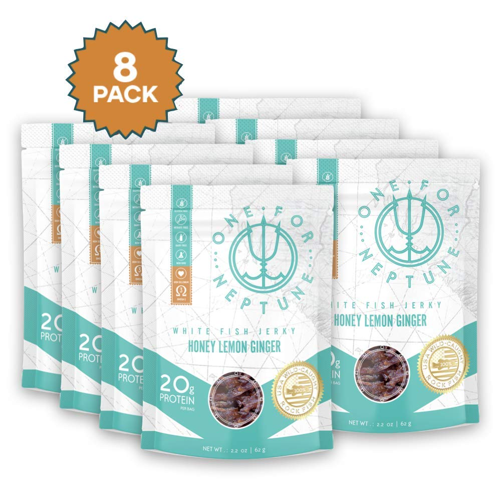 Wild Caught White Fish Jerky - Honey Lemon Ginger 8-Pack - OneForNeptune 2.2oz | Organic, Gluten-Free & Paleo | 20g Protein & 580mg Omega 3s | Sustainably Sourced from Small US Fisheries by OneForNeptune