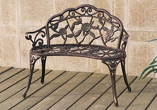1PerfectChoice Outdoor Patio Garden Park Metal Iron Bench Romace Antique Rose Decor in Bronze Review