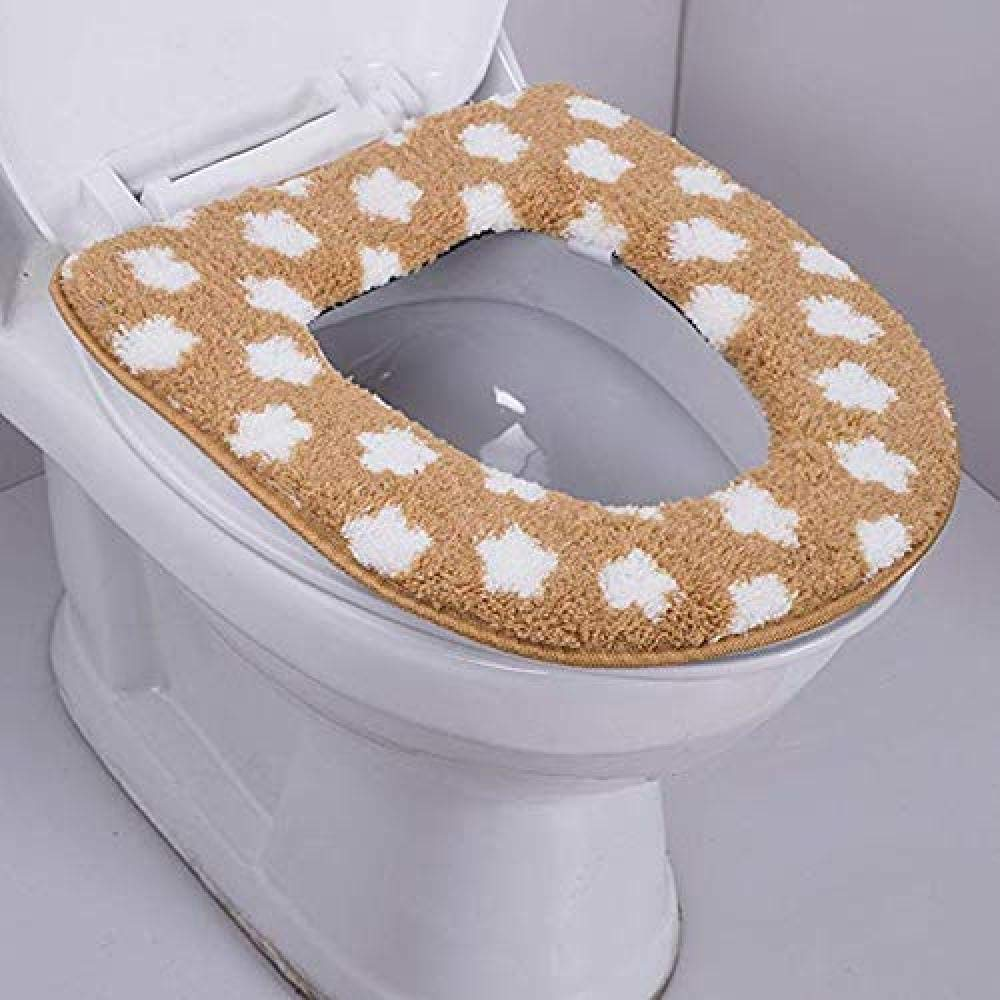 YouNB Toilet Cushion Thicken Meets Keep Warm Machine Washed Toilet Mat Soft Warmer Pad for Bathroom-Brown Yellow 1-1 by YouNB