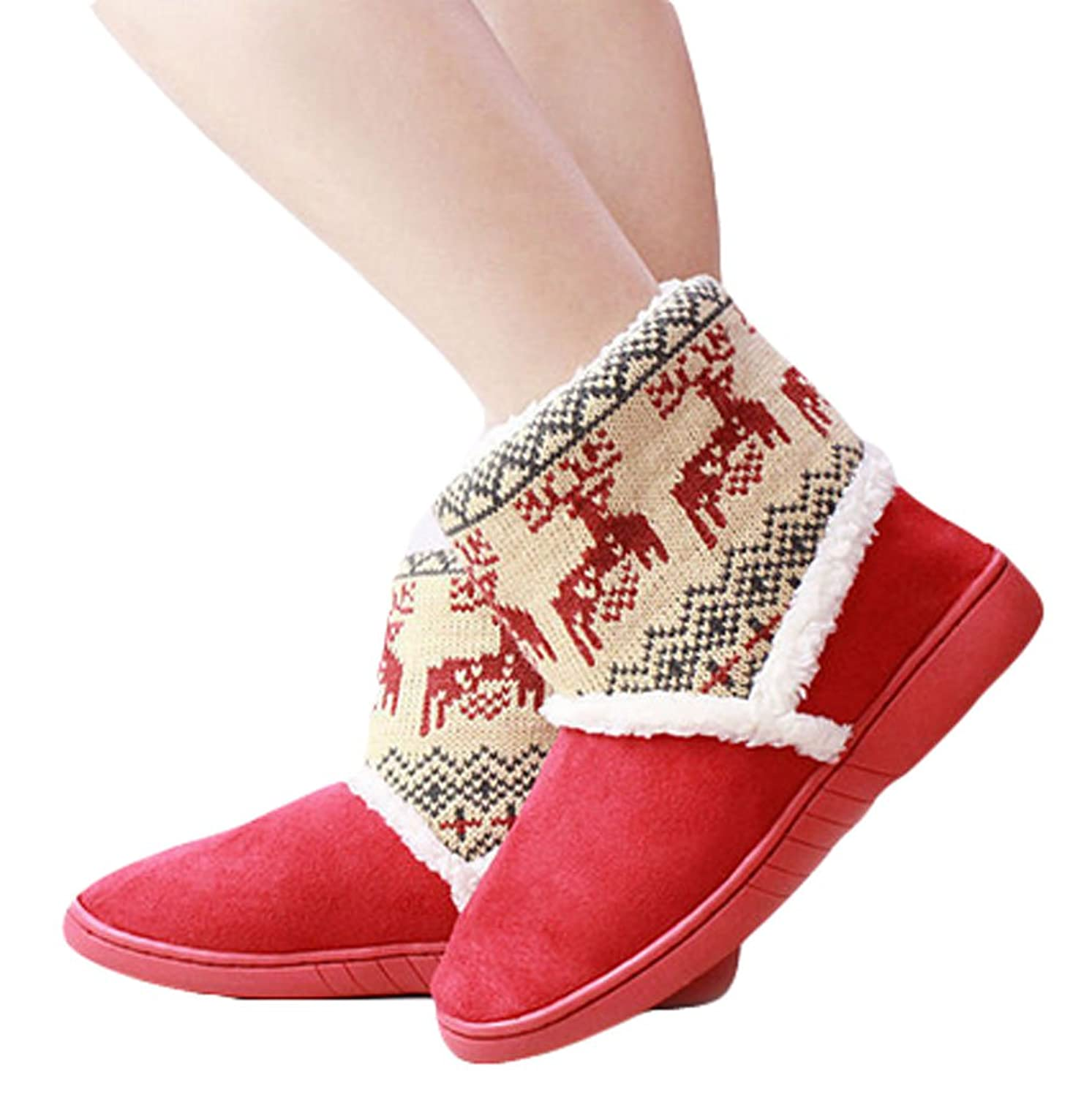 King Ma Women's Winter Warm Suede Thicken Flat Ankle Snow Boots