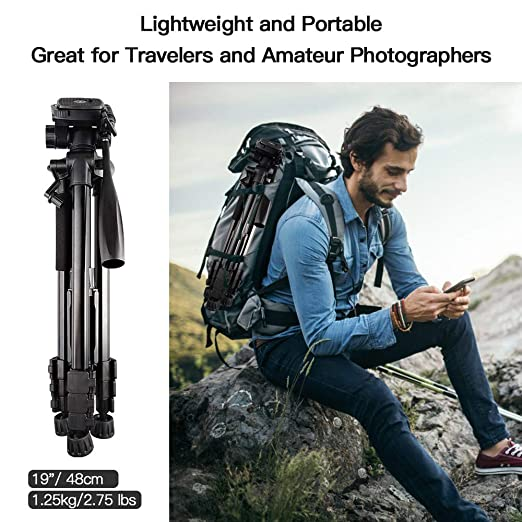 SAMTIAN Tr/épied/Appareil Photo,Trepied L/éger Portable en Aluminium avec T/ête pivotante /à 3 Voies pour Canon Nikon Sony Olympus Photographie Tournage vid/éo