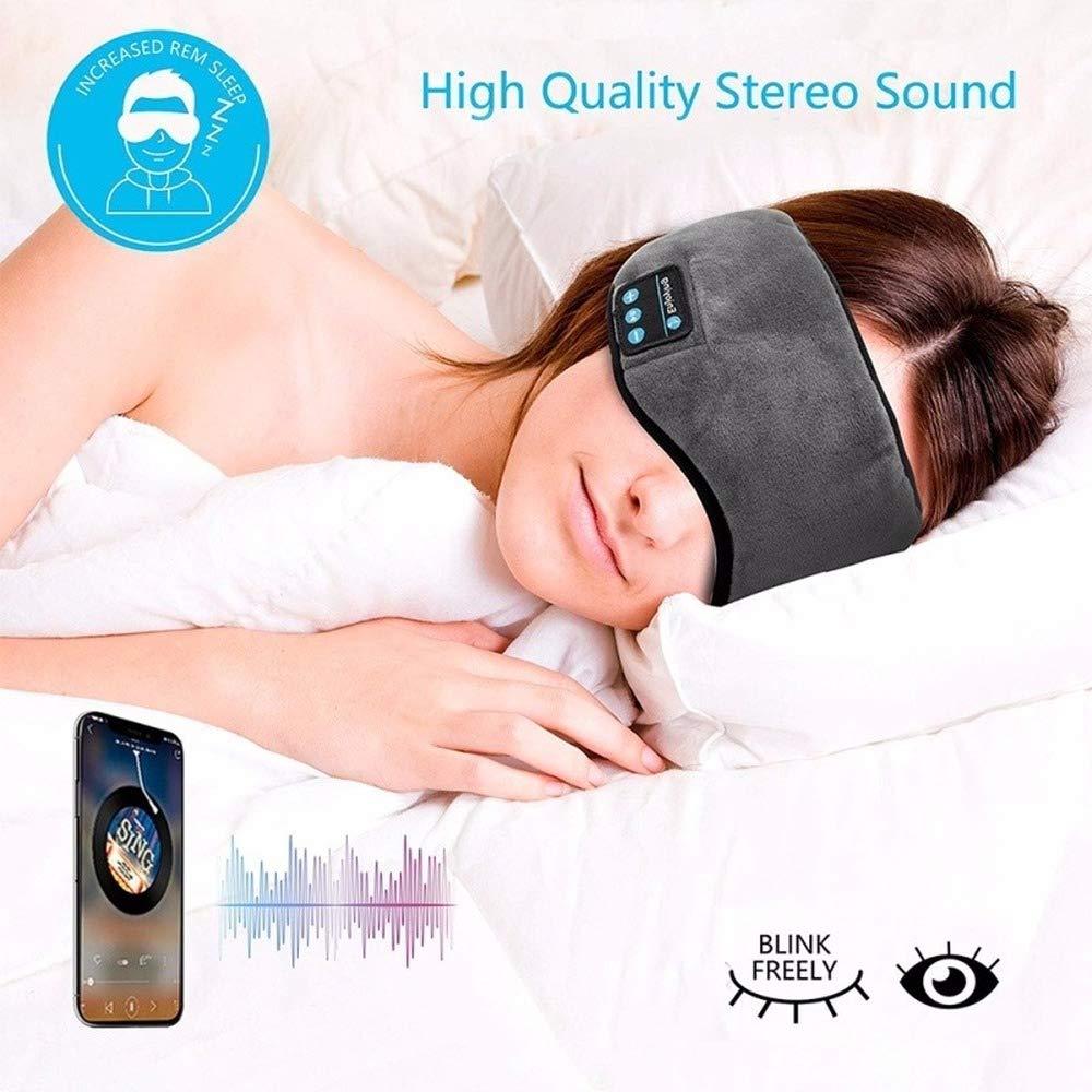 Bluetooth Sleeping Eye Mask Headphone Travel Sleeping Headphone Eye Mask Handsfree Music Sleep Eye Shades Built-in Speakers Microphone by LYB