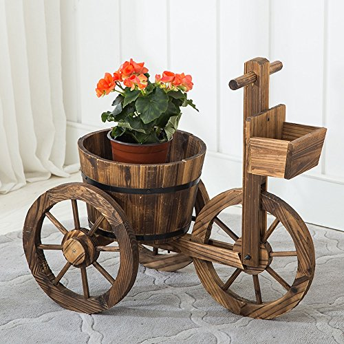 Wheeled Carriages - Flower Stand TYCGY Small Carbide Carriage Flower Drum Anti-corrosion Wooden Wooden Basket Three-wheeled Wooden Barrel Flowerpot Flowerpot Personality Modern Creative Mini