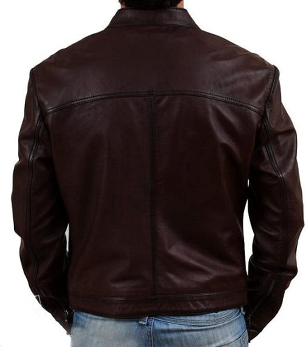 New Men Designer Genuine Lambskin Soft Biker Leather Jacket T1023