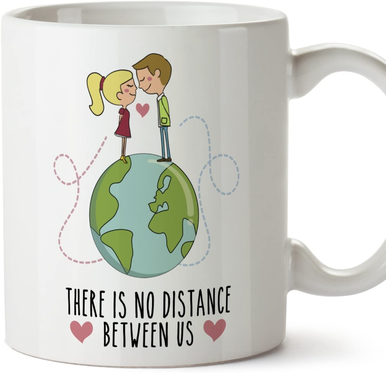 MUGFFINS Taza de café Regalo para la Pareja de Enamorados - Regalo Original de Novios y Novias San Valentín - There is no Distance Between us - 350