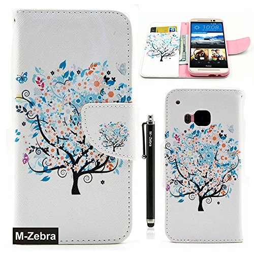 Htc Flip Phone (M9 Case,HTC One M9 Wallet Case, M-Zebra Printed Series Light Color Design PU Leather Stand Wallet Type Magnet Design Flip Case Cover For HTC One M9, with Screen Protectors+Stylus+Cleaning Cloth (Colorful Tree))