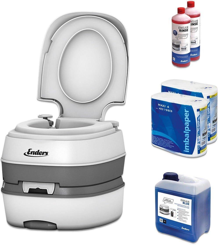 Inodoro portátil para camping, juego Blue 5,0 Enders Deluxe [4994]: WC químico con líquido sanitorio y papel del wáter