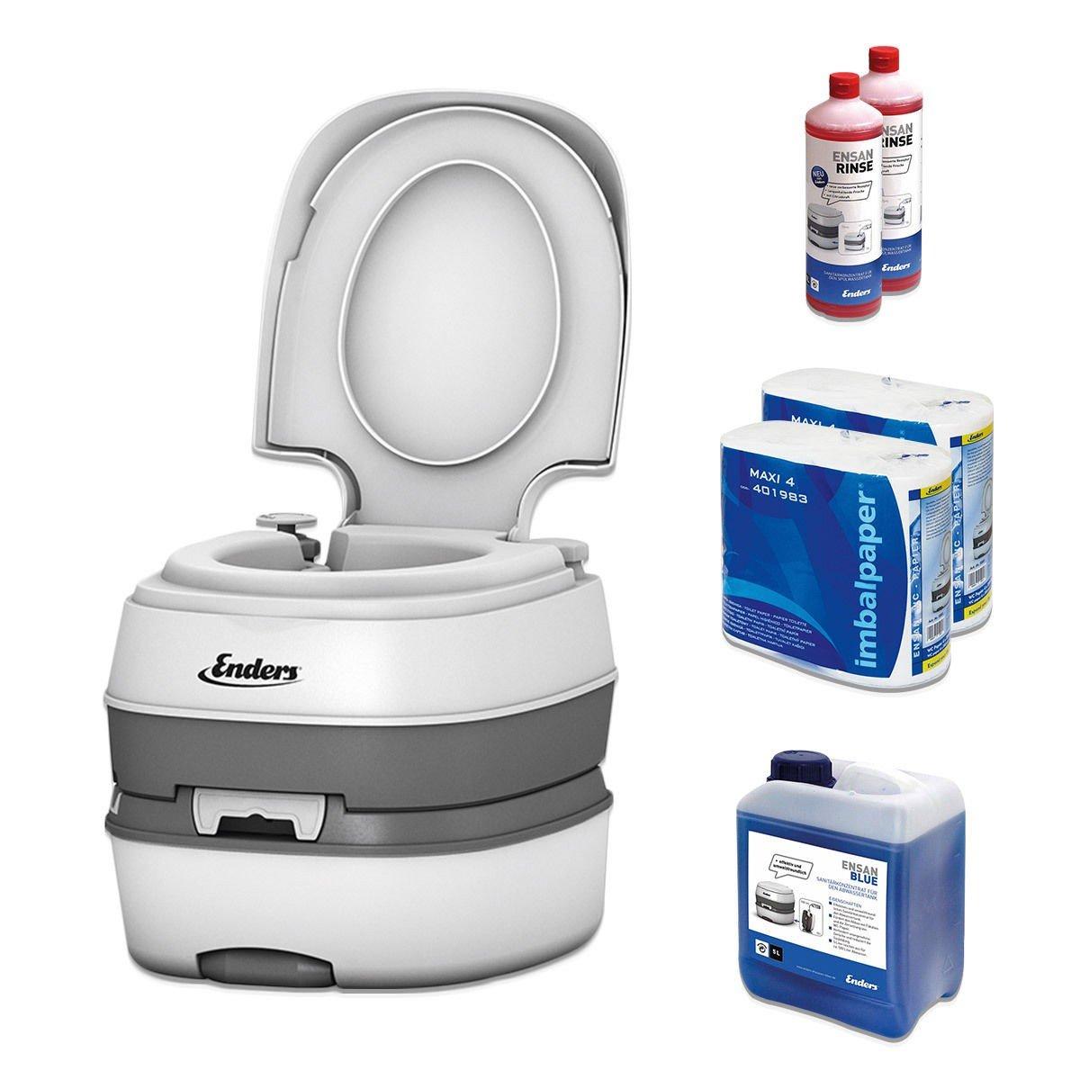 Campingtoilette Starter-Set Blau 5,0 Enders Deluxe [ 4994 ]: inkl. Sanitärflüssigkeit und WC Papier - mobile Chemietoilette Campingklo Camping-Toilette