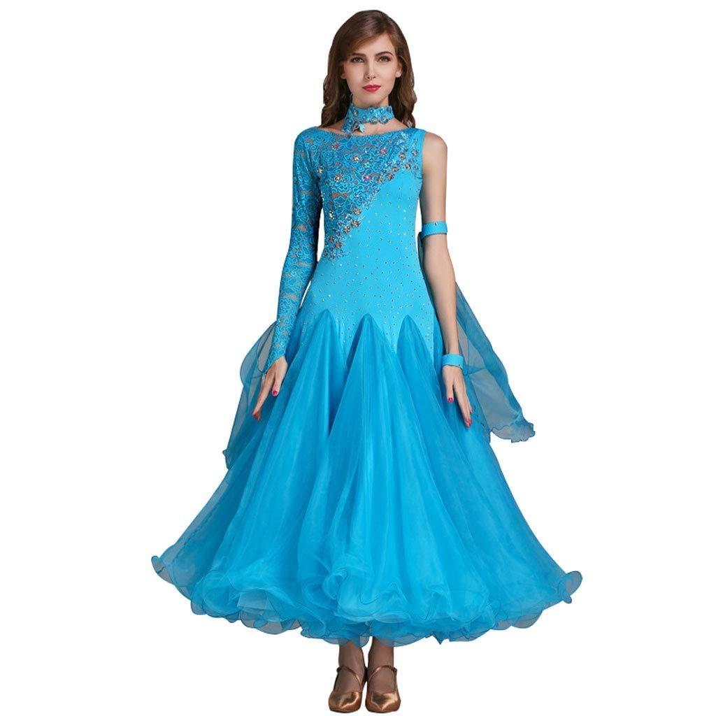 bleu XX-grand XXHDYR Robe de Danse Moderne avec Coutures en Dentelle et Une Grande Robe trapèze. (Couleur   bleu, Taille   S)