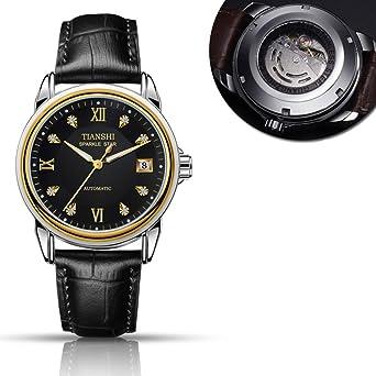 Todo reloj mecánico automático,Correa de cuero de casual moda luminoso impermeable calendario hombres negocios lujo-N: Amazon.es: Relojes