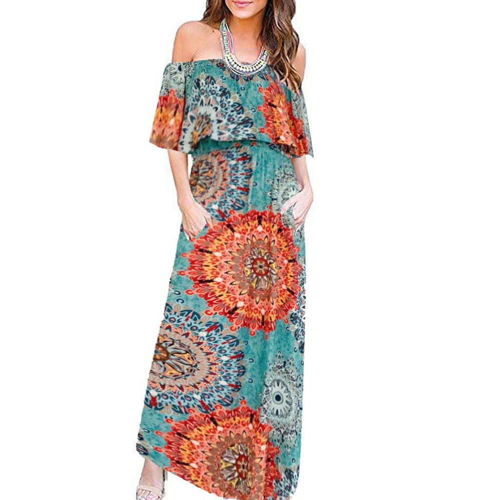 Sunmoot Clearance Sale Womens Off Shoulder Floral Maxi Dress,Summer Ladies Casual Ruffle Split Wrap DressesWith Pockets Green by Sunmoot Clearance Sale