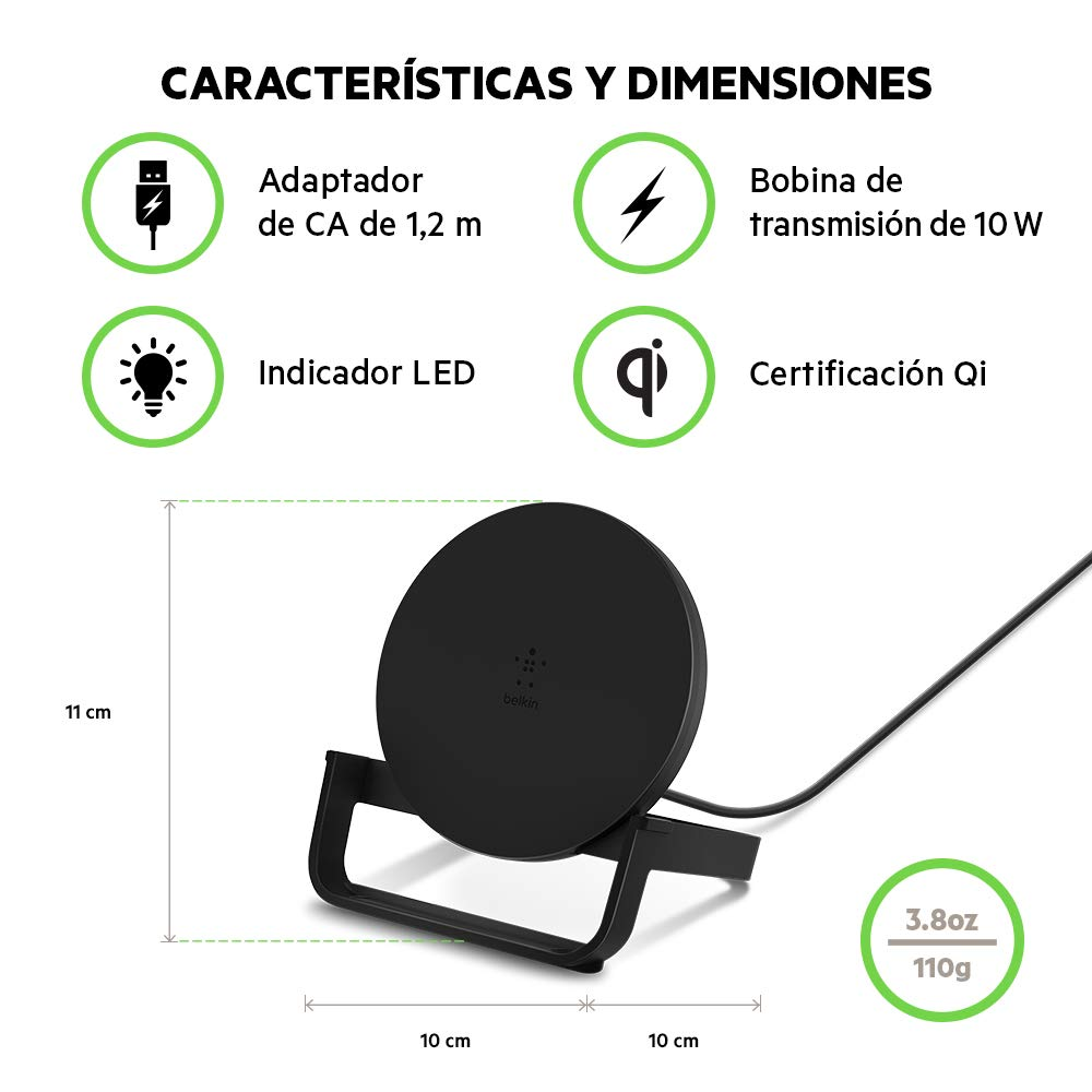 Belkin Boost Up 10 W - Soporte de Carga Inalámbrica Qi (para iPhone 11, 11 Pro/Pro Max, XS, XS Max, XR, X, 8, 8+/Samsung Galaxy S10, S10+, Note9 y ...