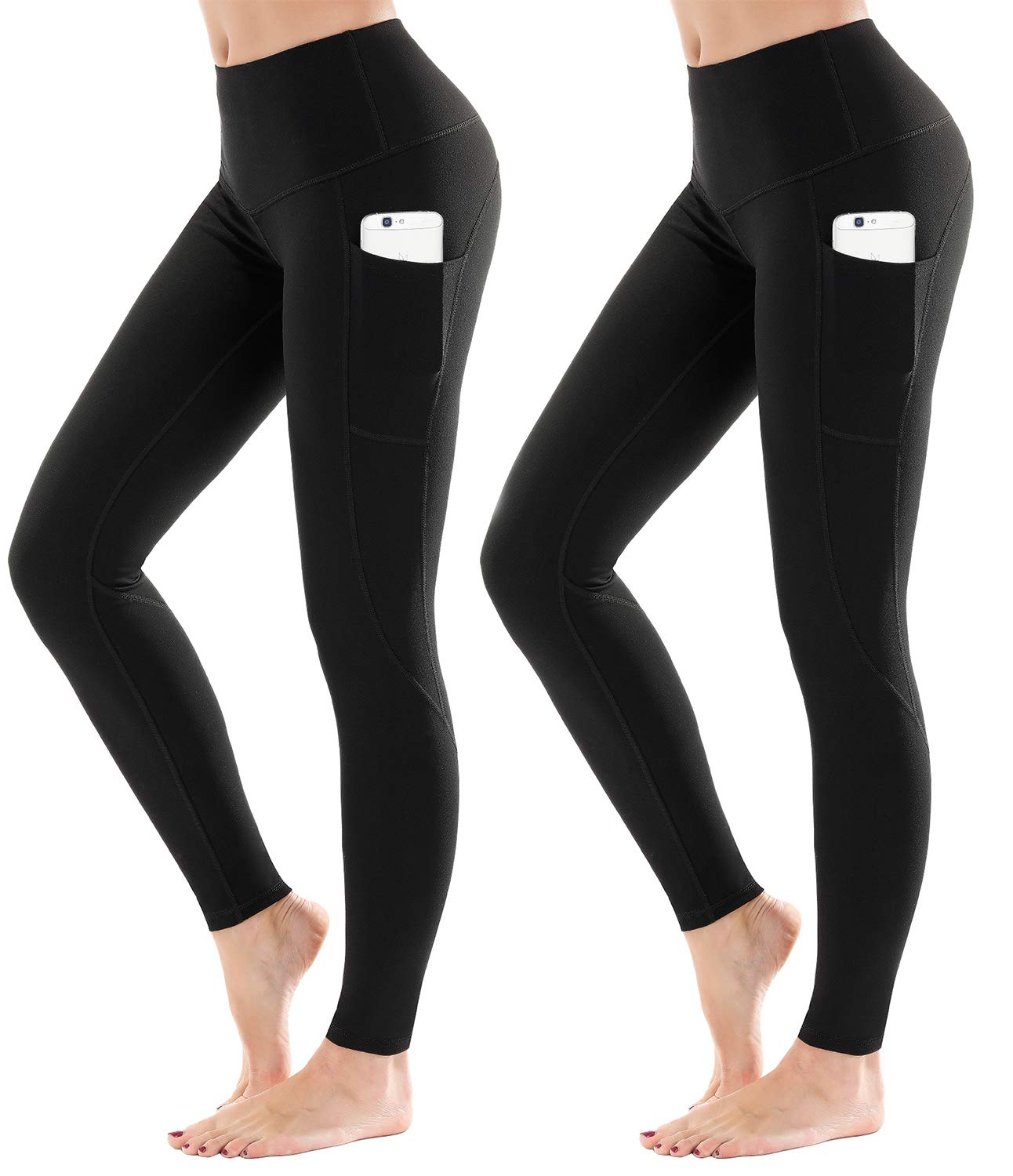 LifeSky Women Yoga 2 Packs Pants Workout Leggings with Pockets Tummy Control Soft Leggings