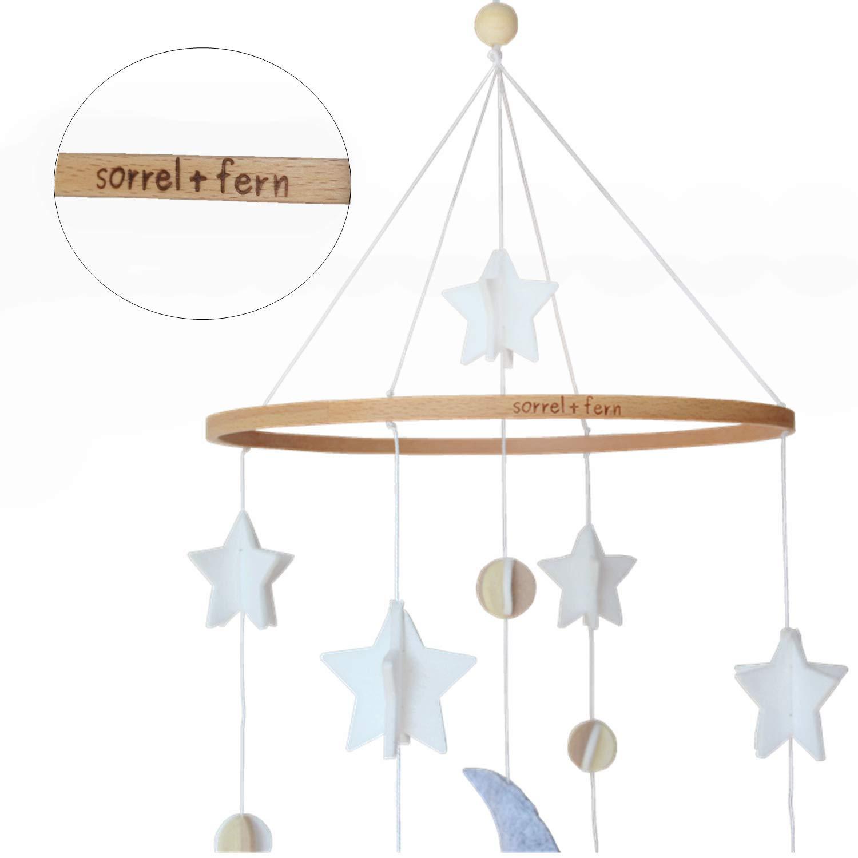 Baby Crib Mobile by Sorrel & Fern- Moon, Stars & Planets Nursery Decor | Crib Mobile