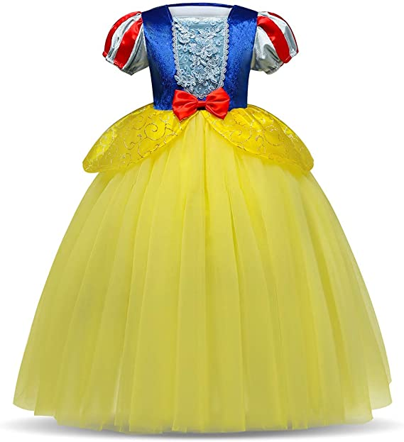 IWEMEK Traje de Princesa Blancanieves Disfraz de Carnaval con Cabo ...