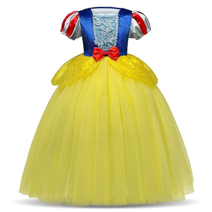IWEMEK Traje de Princesa Blancanieves Disfraz de Carnaval con Cabo Vestido de Cosplay para Niñas Disfraces de Halloween Navidad Cumpleaños Pageant ...