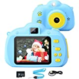Tobeape Kids Camera, 8.0MP Rechargeable Kids Digital Camera with 2.4 Inch 1080P Screen, Front and Rear Lens Child…