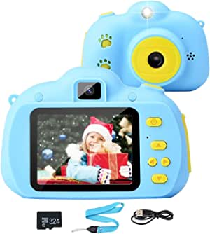 Tobeape Kids Camera, 8.0MP Rechargeable Kids Digital Camera with 2.4 Inch 1080P Screen, Front and Rear Lens Child Camcorder, 32GB Memory Card(Video Camera Birthday/Christmas/Holiday Gifts for Age 3-10 Kids)