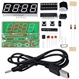 WHDTS 4 Bits Digital Clock Kits with PCB for Soldering Practice Learning Electronics with English Instructions