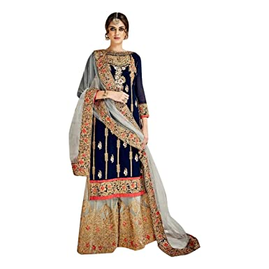 83163d079e Amazon.com: Bollywood Bridal Sharara Salwar kameez Gown Dress Suit Muslim  Wedding Custom to Measure Eid Indian Fusion 2675: Clothing