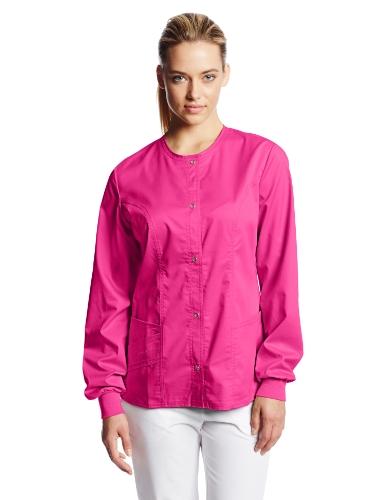 Cherokee Women's Scrubs Luxe Snap Front Warm Up Jacket, Fuchsia Rose, 3X-Large