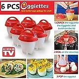 Egg Cooker - BPA Free 6 Egglettes, silicona antiadherente, cazador furtivo, hervido, vapor