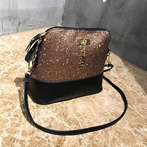 Leather de la de Shell de mensajero hombro nueva Bolso Sequins ALIKEEY Deer señora dama la beige del TxqwXB6nY