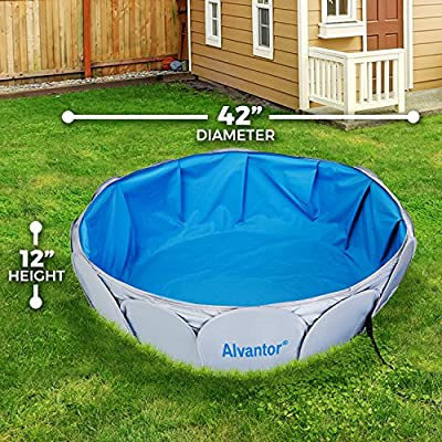 "Alvantor Pet Swimming Pool Dog Bathing Tub Kiddie Pools Cat Puppy Shower Spa Foldable Portable Indoor Outdoor Pond Ball Pit 42""x12"" Patent Pending"