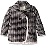 kate spade new york Baby Girls' Tweed Coat, Black/Slipper, 18 Months