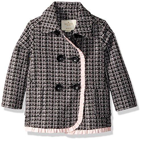 kate spade new york Baby Girls' Tweed Coat, Black/Slipper, 18 Months by Kate Spade New York