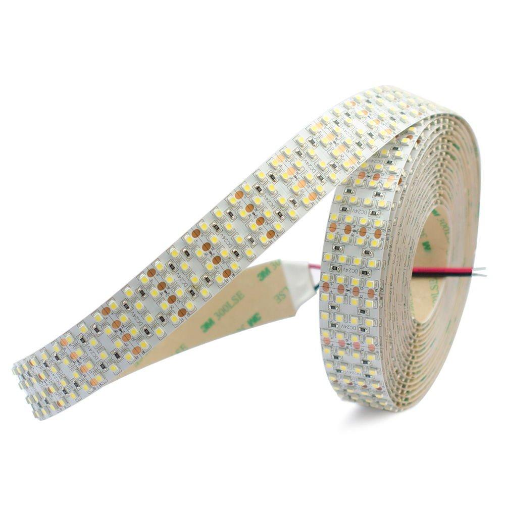 SuperlightingLED LED Light Strips - High CRI DC24V 3528SMD 146LEDs/Ft- Flexible Tape Lights- Quad Row - 1,170 Lumens/ft. - 16.4Ft Per Roll (White 6000K)