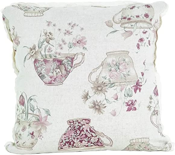 Provence Cotton Decorative Throw Pillow Cover with Lace in French Country Style, 15 x 15 , Cups